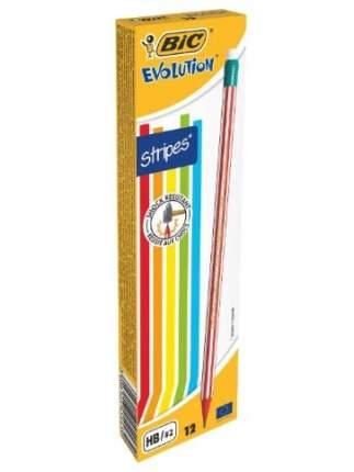 Карандаш чернографитовый BIC Evolution Stripes с ластиком Коробка 12 шт