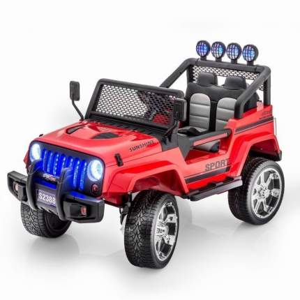 Двухместный электромобиль Little Sun Red Jeep 12V 2.4G - S2388