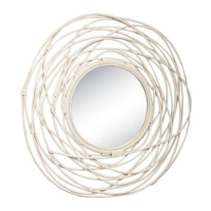 Зеркало из натурального ротанга, 50/02-М White
