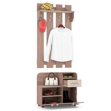 Прихожая Мебельный Двор П5 комплект № 1 ясень шимо светлый/тёмный, 80х36х216 см