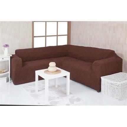 Чехол на угловой диван без оборки Venera, тёмно-коричневый