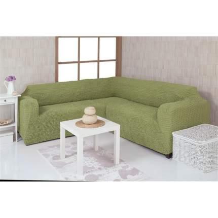 Чехол на угловой диван без оборки Venera, оливковый