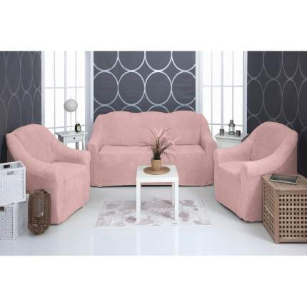 Комплект чехлов на трехместный диван и два кресла плюшевый Venera, розовый