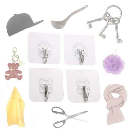 Набор самоклеющихся крючков Blonder Home BH-HANGER-01, 4 штуки, цвет белый, 6х6 см