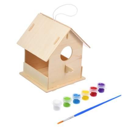 Кормушка для птиц сборная Blumen Haus с красками и кисточкой 12,5х12,5х16см