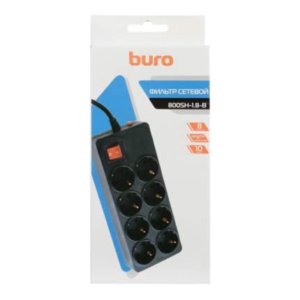 Сетевой фильтр Buro 800SH-1.8-B 1.8м (8 розеток) черный (коробка)