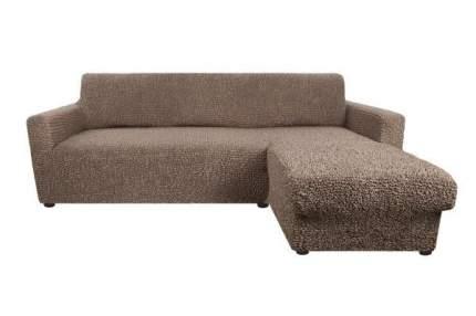 Чехол на угловой диван с выступом справа Микрофибра Капучино