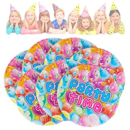 Набор одноразовых праздничных тарелок разноцветные Вечеринка диаметр 18 см 10 штук