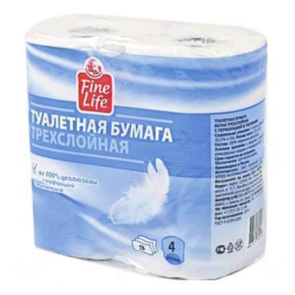 Туалетная бумага Fine Life 3 слойная 4 шт