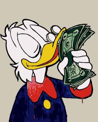 Картина по номерам Красиво Красим Дональд Дак и деньги, 80 х 100 см