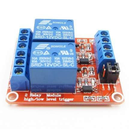 Модуль реле 12В 2-канала электромеханическое с опторазвязкой