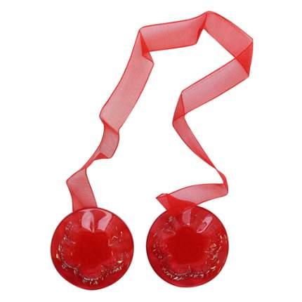Клипса-магнит для штор круглая с цветком, 1шт/упак красный