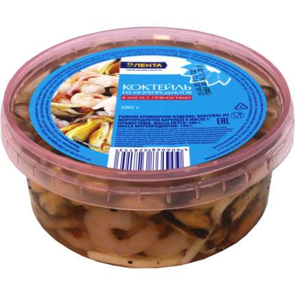 Коктейль из морепродуктов Лента в масле с пряностями 380 г