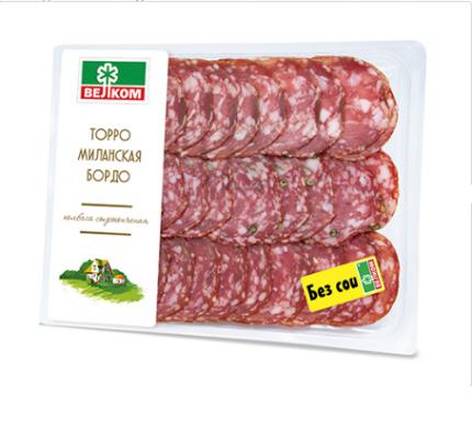 Колбаса Велком Торро+Миланская+Бордо сырокопченая нарезка 150 г