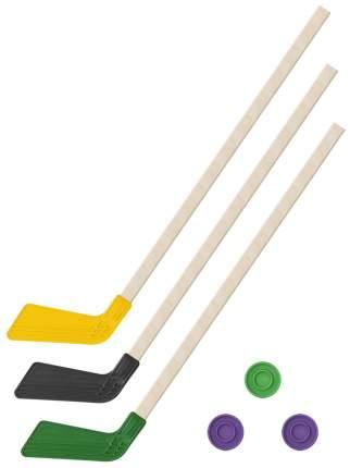 Детский хоккейный набор Задира-плюс Клюшки хоккейных 80 см желтая,черная,зеленая+3 шайбы