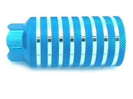 Пега алюминий. Синяя с насечками. Резьбовая 10мм отверстие