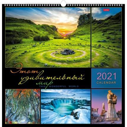 Календарь настенный перекидной 45х45 см на 2021г на гребне с ригелем Этот удивительный мир