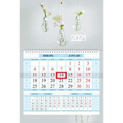 """Календарь квартальный на 2021 г, 1 блок на 1 гребне """"Экодизайн"""", ТМ """"Hatber"""""""
