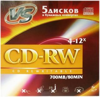 Диск VS CD-RW 700 Mb 5 шт