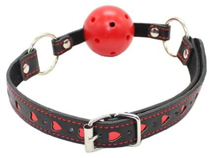 Кляп-шар KISSEXPO black-red с сердечками