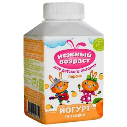 Йогурт Нежный возраст питьевой для детского питания с персиком 1,5% бзмж