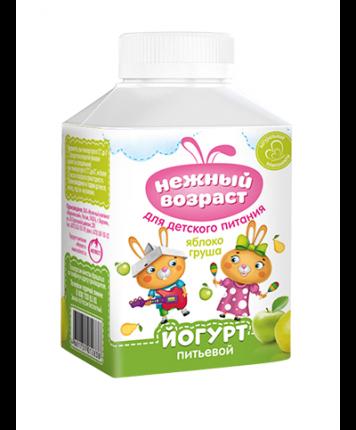 Йогурт Нежный возраст питьевой для детского питания с яблоком и грушей 1,5% бзмж