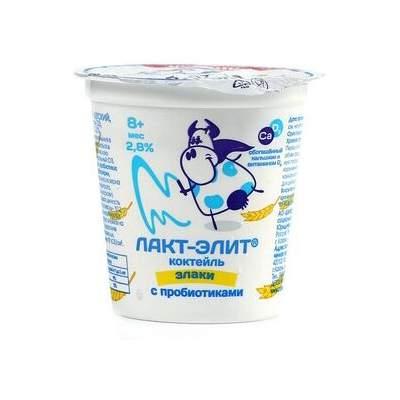 Коктейль кисломолочный Шатлык Лакт-элит с кальцием и D3 со злаками 2,8% с 8 мес 125 г бзмж