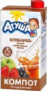 Компот Агуша клубника яблоко и черноплодная рябина с 3 лет