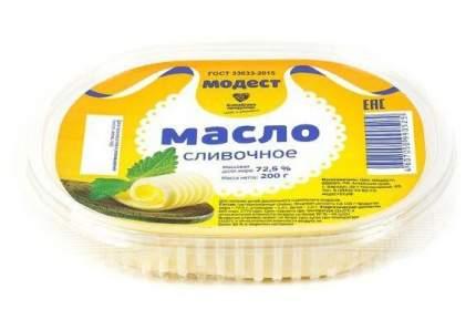 Масло сливочное Модест с 3 лет 72,5% 200 г бзмж