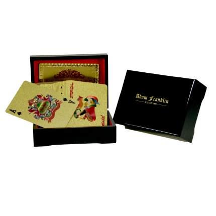 Золотые игральные пластиковые карты 54 шт в шкатулке из чёрного дерева