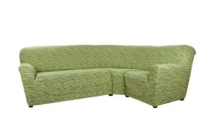 Чехол на классический угловой диван Тела Ридже зеленый