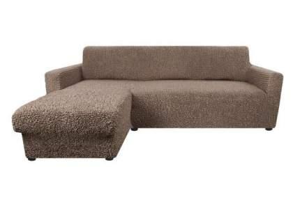 Чехол на угловой диван с выступом слева Микрофибра Капучино