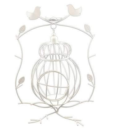 Металлическая клетка с птичками, на подставке, белая