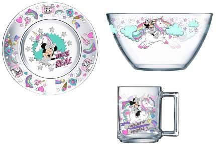 Набор посуды OSZ Дисней Минни и единорог, 3 предмета в подарочной упаковке, стекло