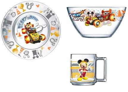 Набор посуды OSZ Дисней Микки гонщик, 3 предмета в подарочной упаковке, стекло