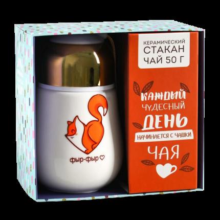 """Набор """"Лисичка"""", термос 300 мл, чай чёрный 50 г 4563499"""
