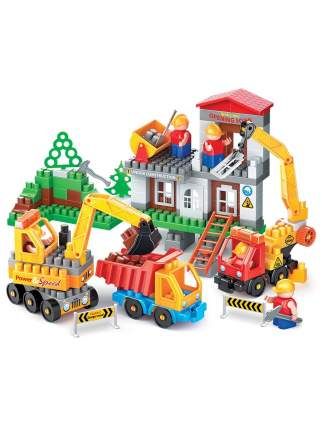 Конструктор Bauer Стройка с автокраном, грузовиком и бульдозером