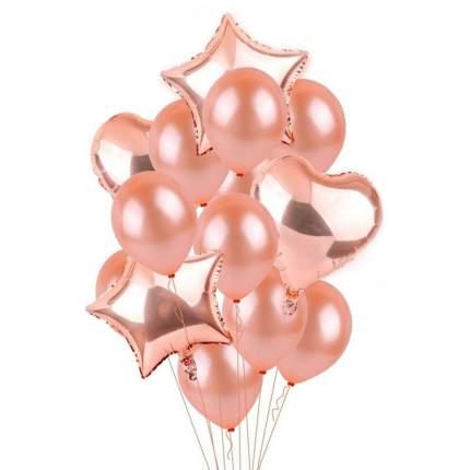 Букет из шаров Праздничный, фольга, латекс, набор 12 шт., цвет розовое золото