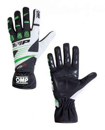 Перчатки для картинга OMP Racing KK02743E270XL KS-3 my2018 черный/зеленый/белый р XL