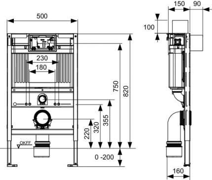 """Застенный модуль """"низкий"""" TECEprofil со смывным бачком Uni, высота 820 мм"""