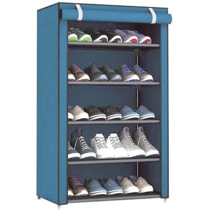 Складной тканевый шкаф для обуви HCX 107 x 54 x 25 см голубой