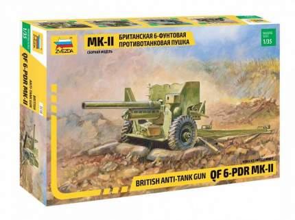 Сборная модель ZVEZDA Британская 6-фунтовая противотанковая пушка Mk-II 1/35