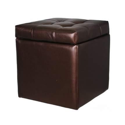 Пуф Квадро с ящиком экокожа коричневый