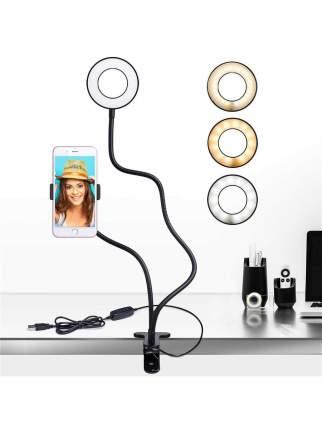 Светильник Tiko c кольцевой лампой на штативе с держателем для телефона, 10 режимов