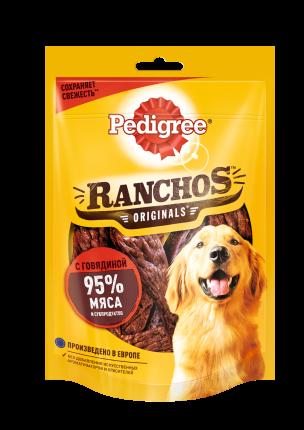 Лакомство для собак Pedigree Ranchos, мясные ломтики с говядиной, 58г