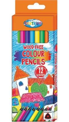 Карандаши цветные пластиковые 12 цветов, трехгранные, 177мм CENTRUM
