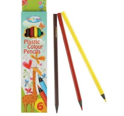 Карандаши цветные пластиковые 6 цветов, трехгранные, 177 мм CENTRUM