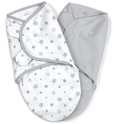 Конверт на липучке Summer Infant SwaddleMe, размер S M, 2 шт , серый звездочки 57846