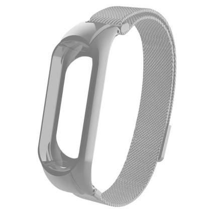 Ремешок металлический Миланская петля Krutoff для Xiaomi Mi Band 3/4 (silver)