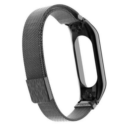 Ремешок металлический Миланская петля Krutoff для Xiaomi Mi Band 3/4 (black)